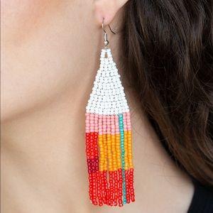 Beaded fish hook earrings.
